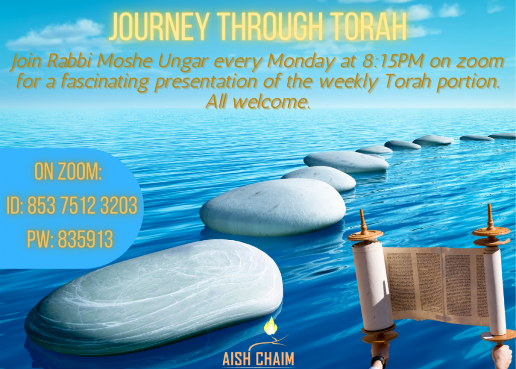 Journey Through Torah with Rabbi Moshe Unger on Zoom at 8:15 every Monday