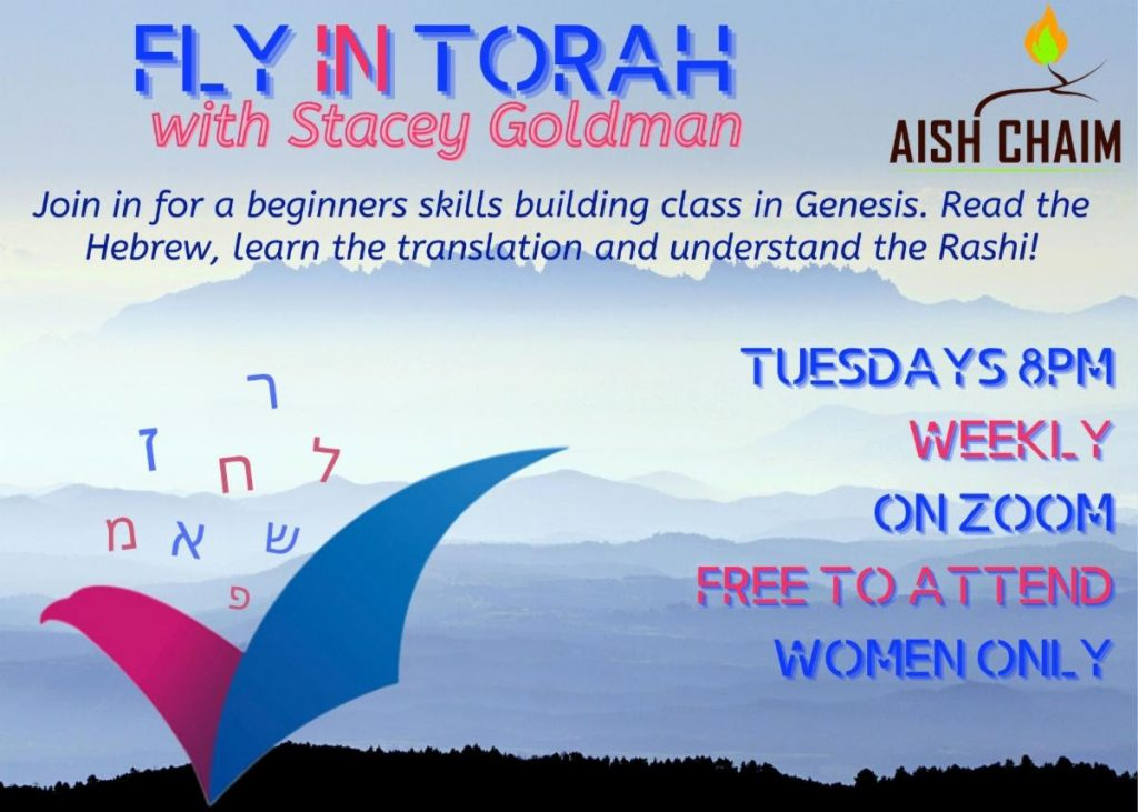 Fly in Torah class with Stacey Goldman every Tuesday at 8:00pm